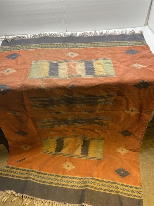 "Wool Blanket Native American Print Wall Hanging Vtg 74"" X 49"""
