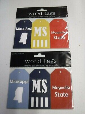 DELUXE DESIGNS MISSISSIPPI STATE WORD TAGS 2 PC DIE CUT EMBELLISHMENT A20628 Die Cut Deluxe Designs