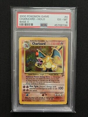 PSA-6 Pokemon CHARIZARD Card BASE II/2 Set #4/130 Rare Holo 2000