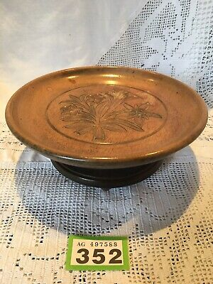 Antique Carved Wood BlackForest Musical Fruit Bowl SilverThread Among Gold Roses