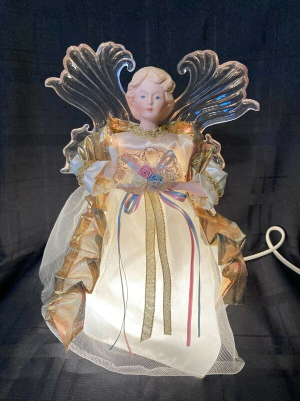 """Holiday Classics 11"""" Animated Lighted Angel Tree Topper Excellent Condition"""