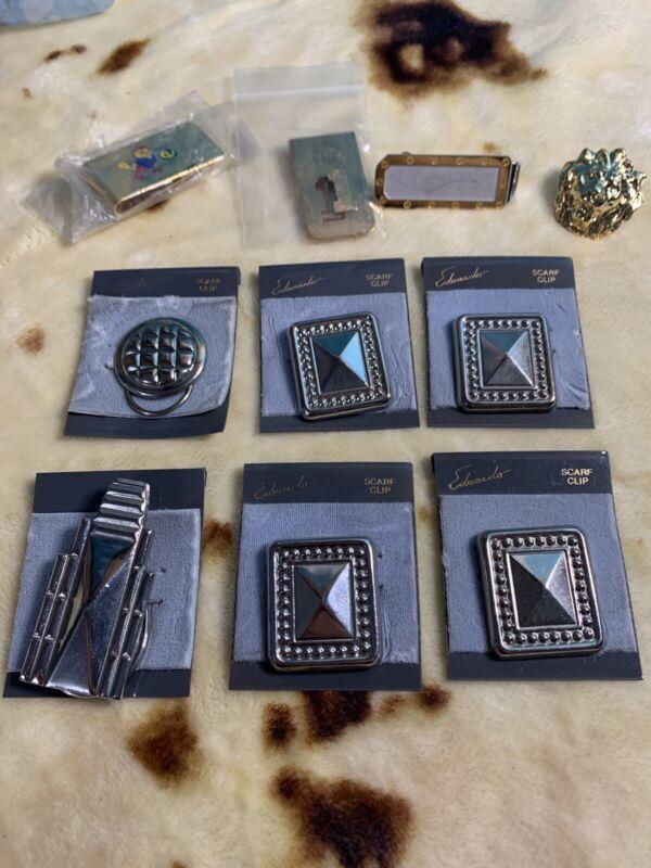 Vintage Scarf Clip Lot Money Clip Square Lion Golf Silver Tone Gold Tone NOS