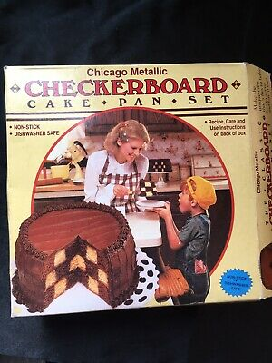 Chicago Metallic Checkerboard Cake Pan Set 3 Baking Pans 9