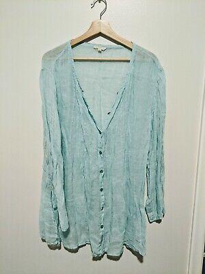 Eileen Fisher Seafoam Green Linen Cardigan Women's Plus Size 2X