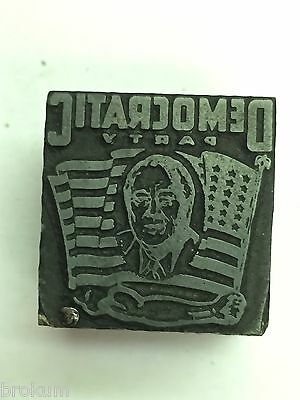 Democratic Party Political Printers Letterpress Type Block Mans Head In Flag