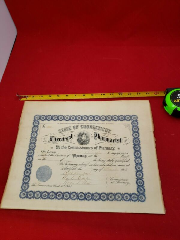 1903 Antique  State of Connecticut Pharmacist License  Pharmacy Hartford License