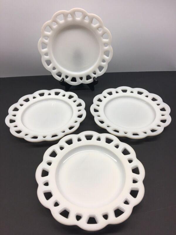 "8"" Vintage White Milk Glass Old Colony Lace Edge Salad Dessert Plate Set Of 4"
