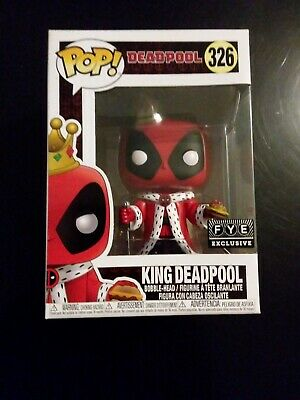 Funko Pop King Deadpool With Burger #326 FYE Exclusive Bobble-head Figure Marvel