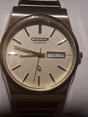 Vintage Rare Citizen 3801-984871 KT Quartz Gold-Tone Day&Date Watch