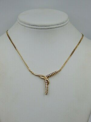 Beautiful unusual Solid 14 kt Yellow Gold Diamond Studded Necklace (0334)