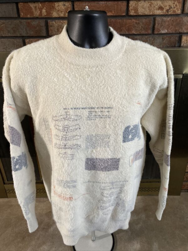 Vintage M Museum Hand Knit Patterned Art White Fuzzy Sweater Size Large