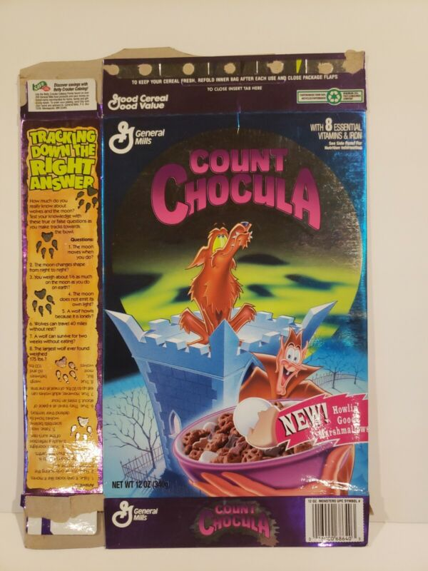 Vintage 1995 COUNT CHOCULA Cereal Box