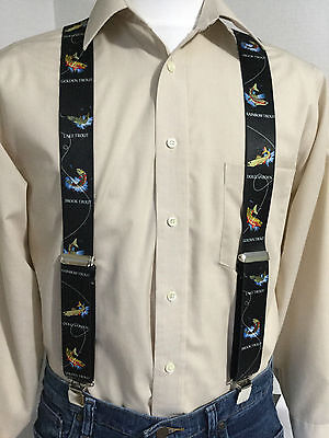 "New, Men's, Trout on Black, XL, 1,5"", Adj. Suspenders / Braces, Made in the USA"