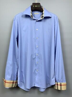 BURBERRY BRIT Nova Check Blue Shirt Size XL Men's Long Sleeves Stretchy Cotton