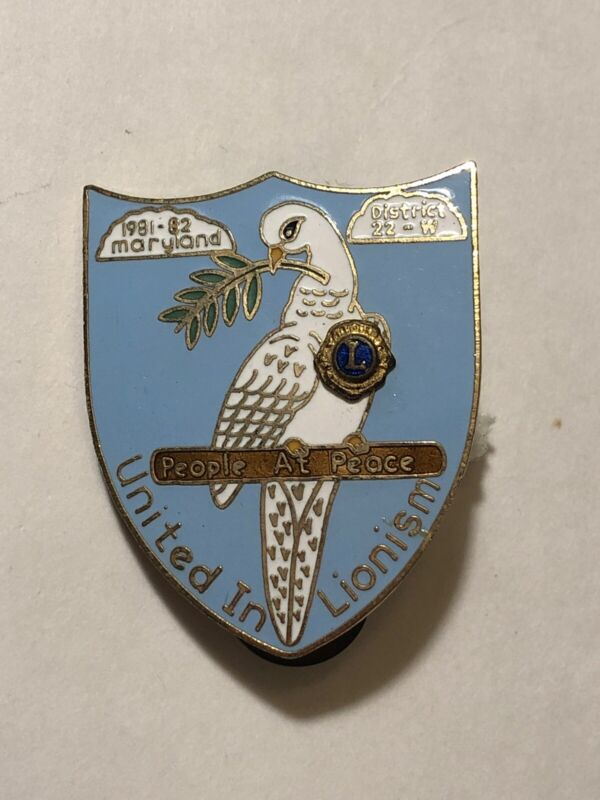 1982 Maryland District 22-W People At Peace Dove Olive Branch Lions Club Pin