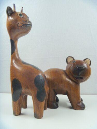 Hand Carved Wooden Animals--Bear & Giraffe