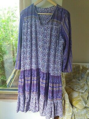 Vintage Indian Cotton Gauze Dress Hippy Boho