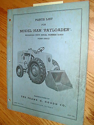 International Hough Hah Parts Manual Book Catalog Wheel Payloader Guide List