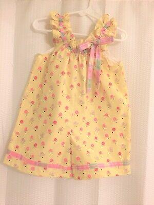 Yellow Dress For Little Girl (Handmade Little Girls Romper-Size 4-Yellow floral-Sleeveless for)