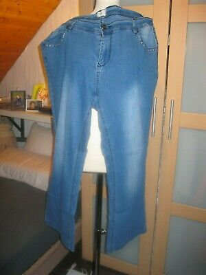 Strass Baumwolle, Elasthan (Damen Jeans Gr. 4 x XL L32, Blau, Baumwolle/Elasthan, Strasssteine,