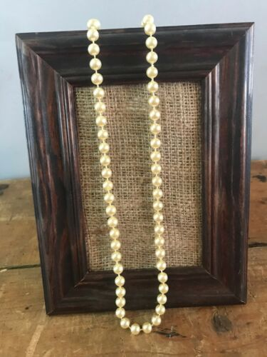 """Vtg Antique Estate Long Strand Cream Colored Flapper Style Pearl Necklace 58"""""""