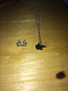 Silver bird necklace and silver butterfly earrings