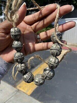 Antique Yemeni Fabricated Metal Bedouin Ethnic Silver Bead Yemen, African Trade