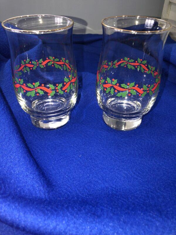 Vintage Pair Christmas Water Glasses PROMO Long John Silver