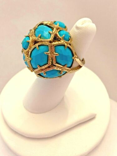 Large Gold Tone Metal and Turquoise Stones Ring