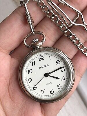 Vintage Sekonda Stainless Steel Pocket Watch Quartz Men Watch Working
