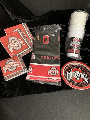 Ohio State Party Pack (2) Cups, Napkins, Plates, and a Tablecloth Neb - Ohio State Party Supplies