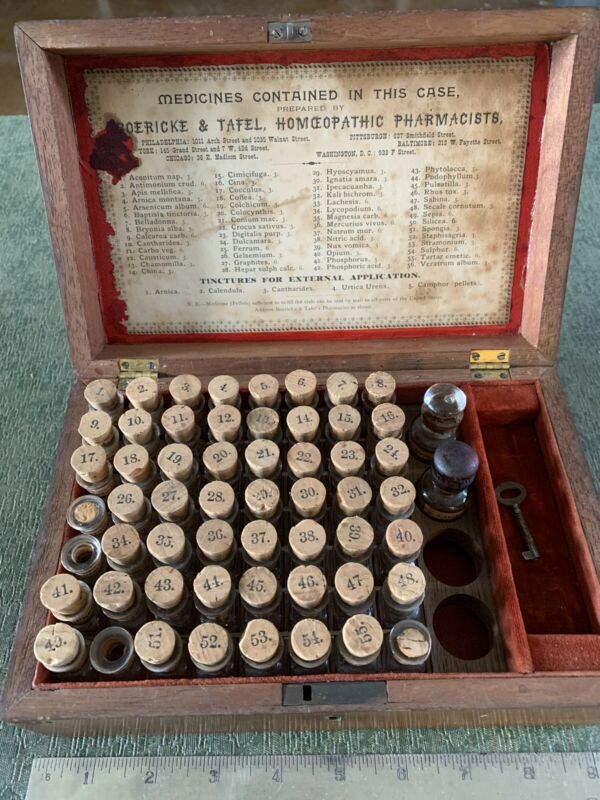 Antique Wood Cased Boericke & Tafel Homeopathic Pharmacists Medicines Box
