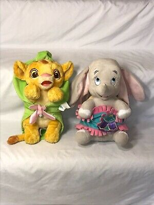 Disney Parks Babies Dumbo and Simba Plush With Blanket Lot of 2 Stuffed Animals](Babies And Animals)