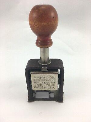 B1 Vtg American Numbering Machine Ink Stamp 5 Action Model Iii 6 Wheels Works