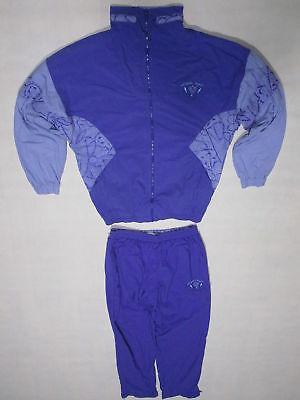 Nylon Trainings-anzug (Trainings Anzug Sport Track Jump Suit Nylon Glanz Shiny Fasching Karneval Lila M)