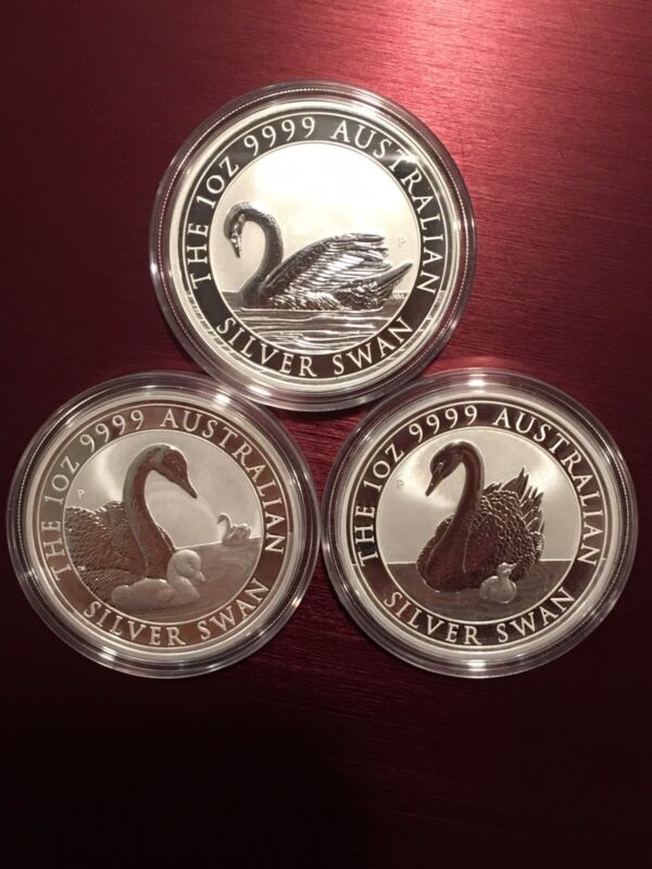 2017, 2018, & 2019 Australia Silver Swan 1 oz Coin - BU direct from Sealed roll