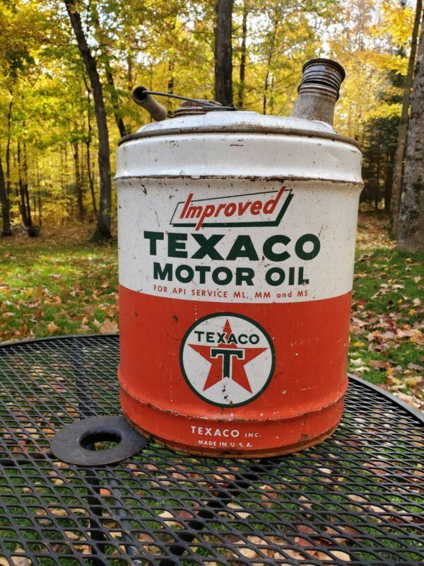 Original vintage Texaco Improved Motor Oil metal 5 gallon can