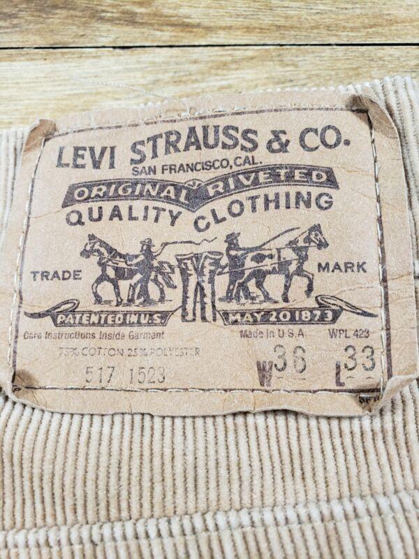 Levis 517 Tan Corduroy Jeans Mens Size 36x33