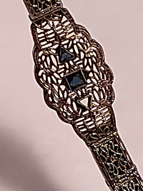 Art Deco Anne Louise Watch Band 1/10 12K Gold Filled Filigree Sapphire Bracelet