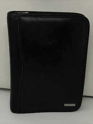Franklin Covey Black Leather Classic Planner Binder Zip Organizer 7 Rings
