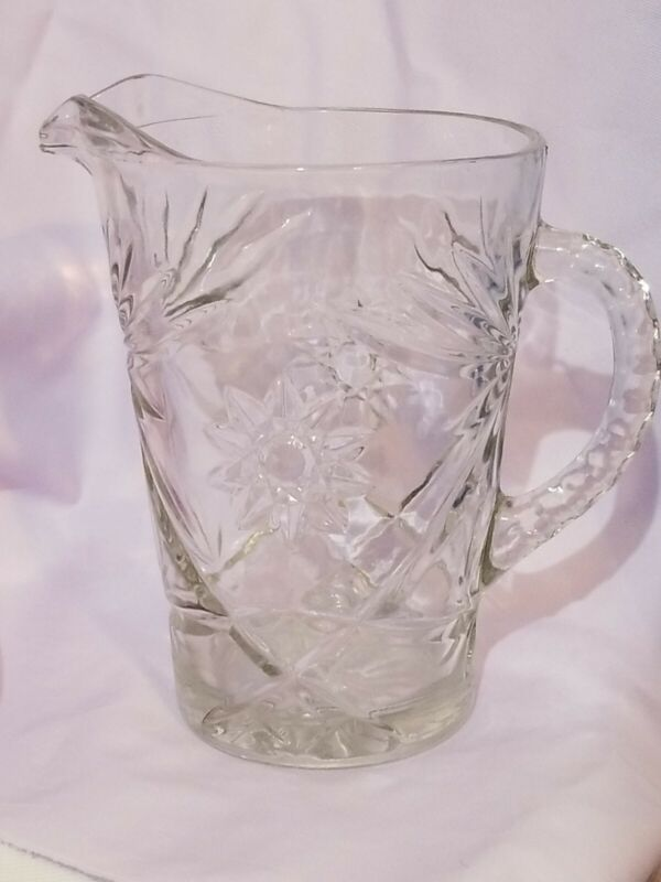 Vintage Anchor Hocking Star of David Pitcher Early American Pressed Glass