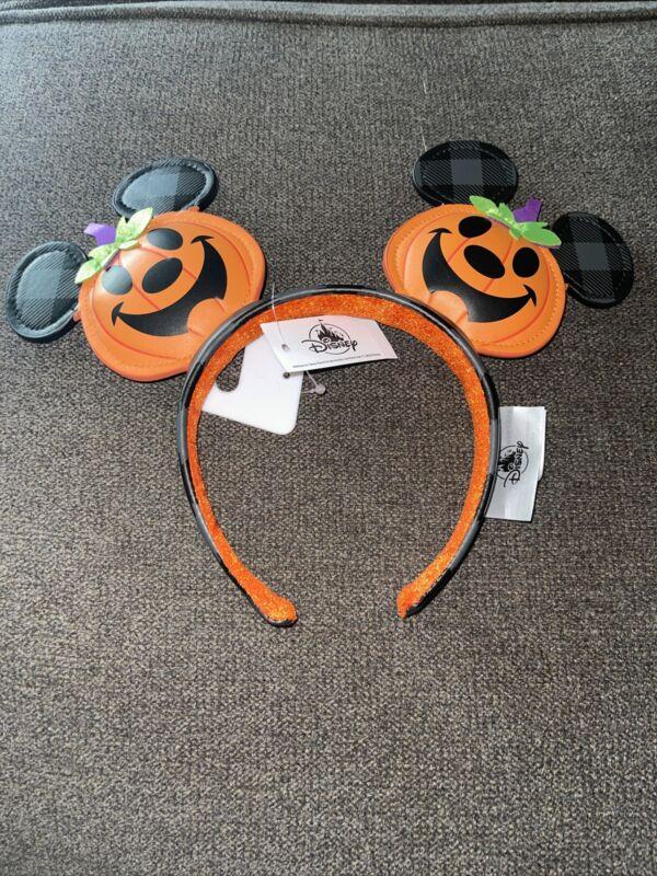 Disney Parks 2021 Mickey Halloween Pumpkin Headband Ears Jack O