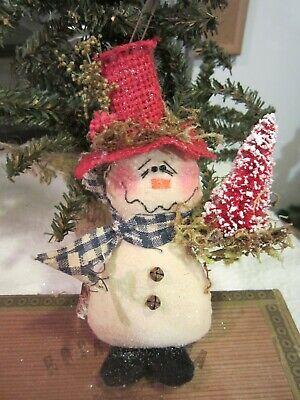 Primitive Linen Snowman*Cupboard Tuck*Bowl Filler*Christmas*Winter*