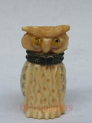 Rare Collection Old Chinese Tibet Hand-carved vivid Owl Statue Snuff Box Trinket