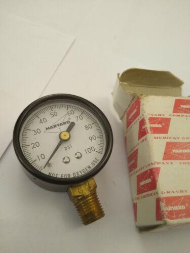 Vintage Harvard Pressure Gauge 0 - 100 PSI Industrial Steampunk Gage Made In USA