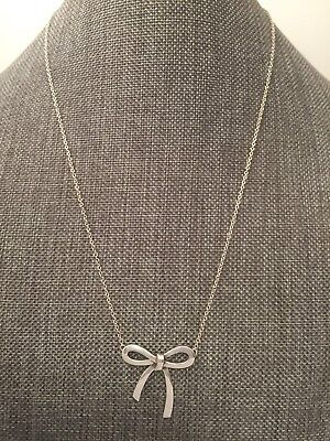 """Tiffany & Co Sterling Silver 23mm Bow Pendant 16"""" Necklace"""