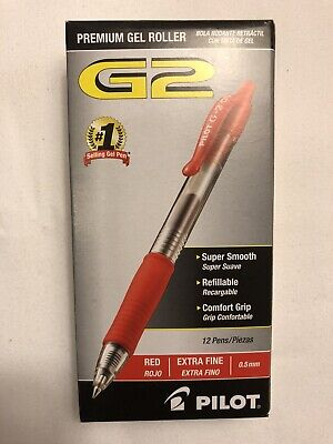 Pilot G2 0.5mm Roller Ball Retractable Gel Pen Red - 12 Pack Ink Pen