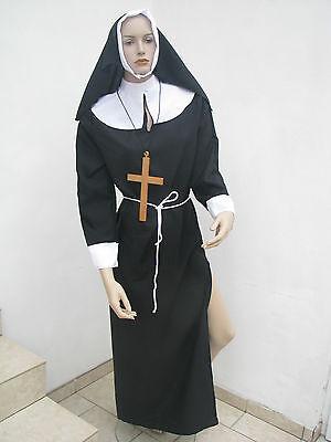 Nonnenkostüm komplett Set sexy Nonne Kostüm Erwachsene inkl.Kreuz Gr.M Karneval