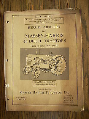 Massey Harris 44 Diesel Parts Manual