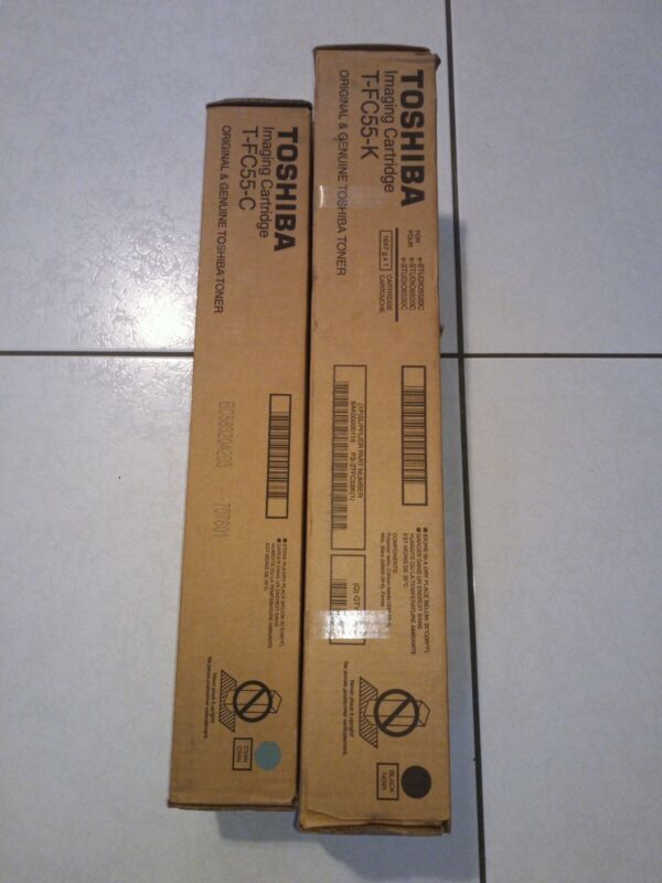 02 Genuine Toshiba Toner Cartridge (01 T-FC55-K & 01 T-FC55-C )